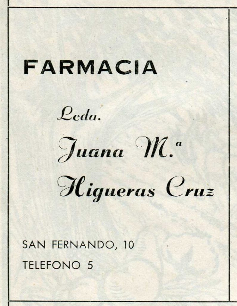 Farmacia Juana Higueras 1974