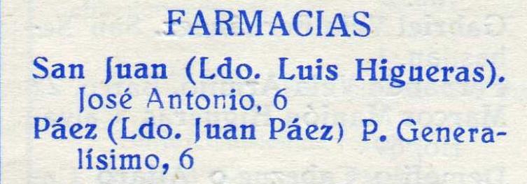 Farmacias en Santisteban, 1967