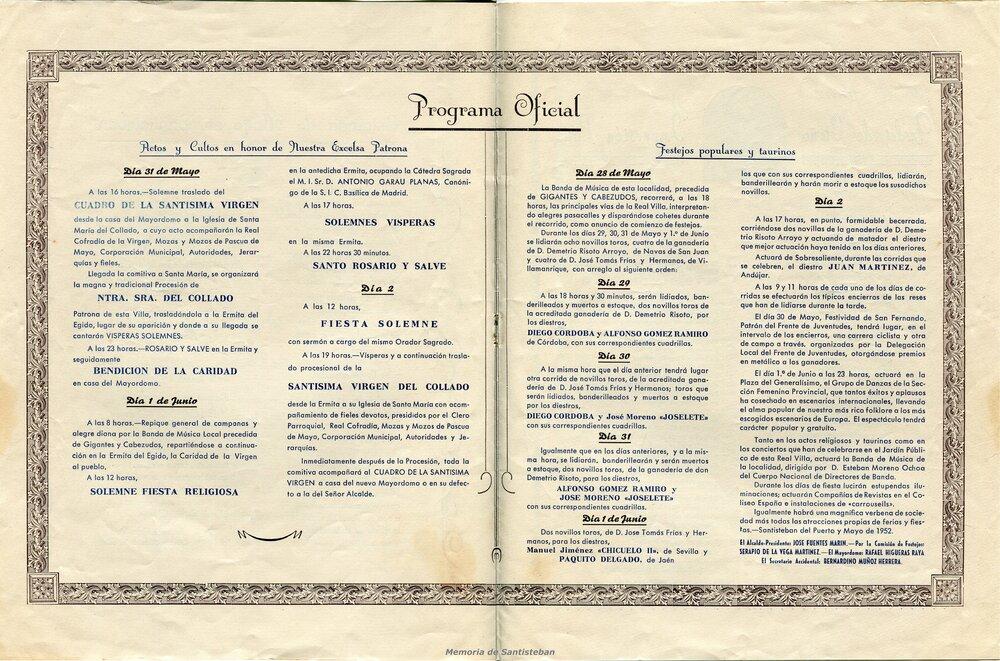 Programación Fiestas 1952