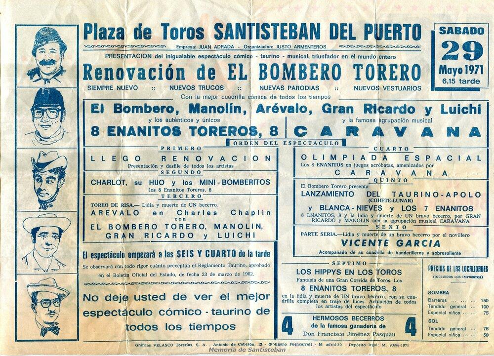 Díptico de espectáculo cómico taurino 1971